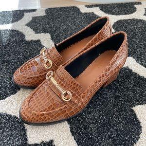 ASOS Heeled Snakeskin Loafers - Size 8/39